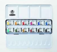 Aquarellkasten inkl. 12 Aquarellfarben in ganzen Näpfchen (Akademie)